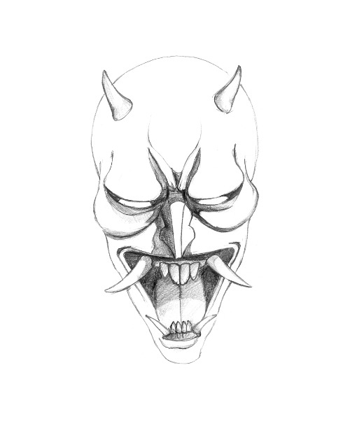 Japanese Hannya Mask Coloring Coloring Pages
