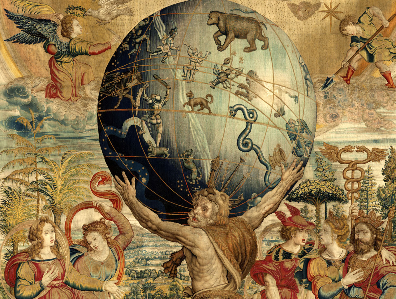 "willigula: "" Hercules supporting the celestial sphere from a tapestry by Joris Vezeleer (Georg Wezeler) based on a model by Barend van Orley, c. 1535 """