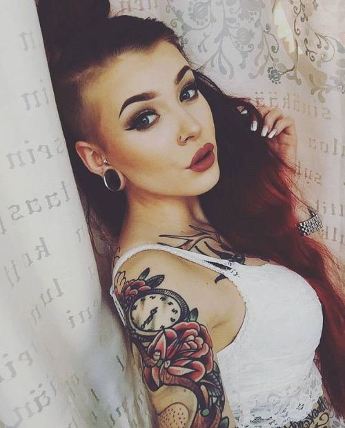 inkdollmafia:  Inked Red haired Madam @sosssi #inkedgirls #tattooedgirls #inkedbabes #inked #inkeddoll #tattooed #inkdollmafia #inkedup #redhairedgirl #fleshtunnel #redlips