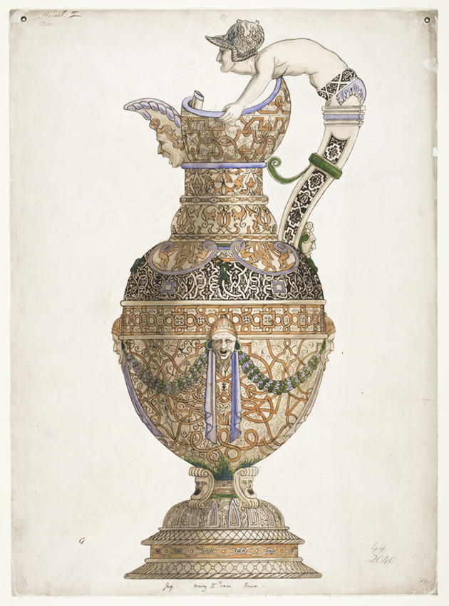 "Ralph Wornum, design for an ewer, 1848-54. Drawing. London. Via V&A "" This was one of a series of diagrams made by Wornum as visual aids to lectures on ornamental art. The fine earthenware now called 'Saint-Porchaire' was much admired in the 19th..."