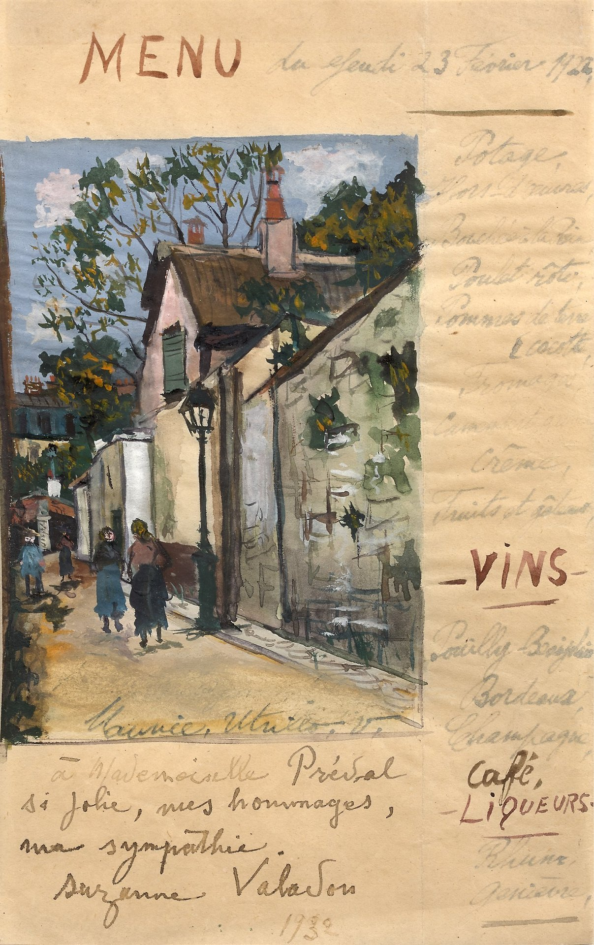 "amare-habeo: "" Maurice Utrillo (French, 1883-1955) Menu Study, 1922 Gouache and ink on paper, 20.7 x 12.8 cm """