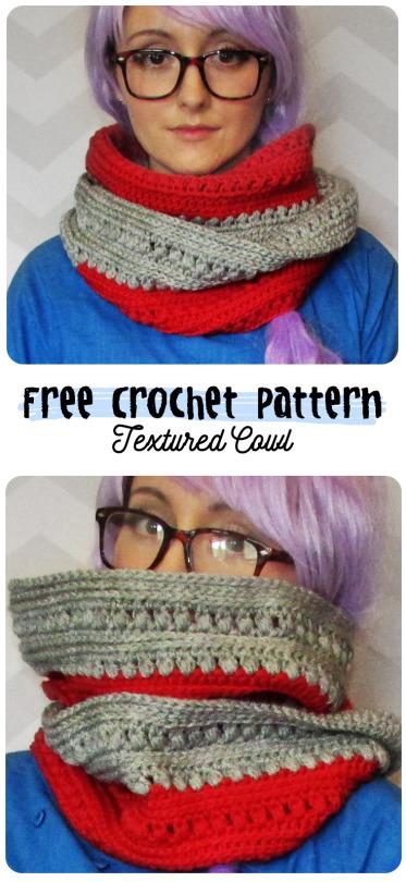 free crochet pattern textured infinity loop grey red