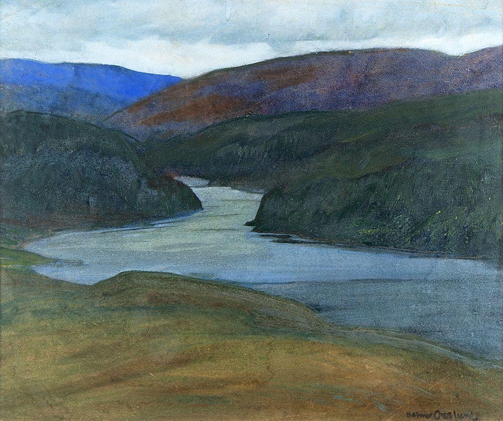 "thunderstruck9:""Helmer Osslund (Swedish, 1866-1938), Norrländskt bergslandskap med vattendrag [Norrland mountain landscape with river]. Gouache on paper, 40 x 47 cm"""