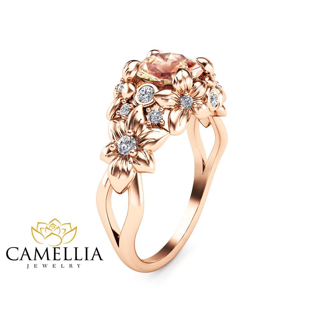 Camellia Jewelry  Floral Design Morganite Engagement Ring