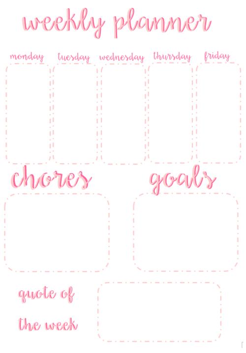weekly school planner printable