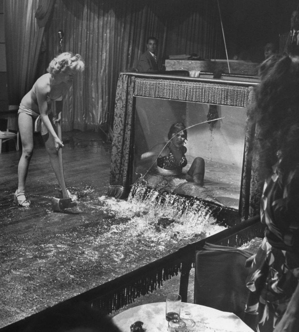 hight resolution of stripper evangeline sylvas angrily breaking the water tank being history