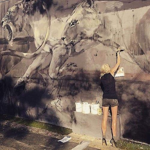 thcrstlshp:  Our very talented friend @faith47 is working on a new mural in Miami ☀️ #streetart #mural #lion #faith47 #wynwoodwalls #miami https://www.instagram.com/p/BNZsxa2g6RW/