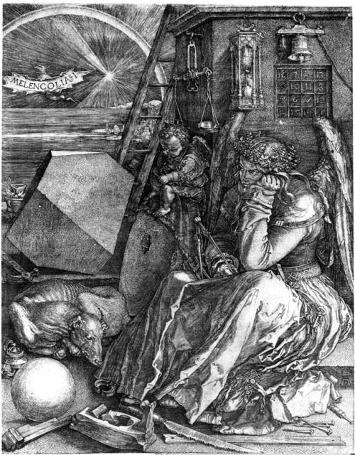 Engraving of Melancholy sitting among mathematical and scientific instruments. For symbolic breakdown, see the second link!