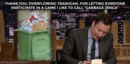 Thank you, overflowing trashcan…
