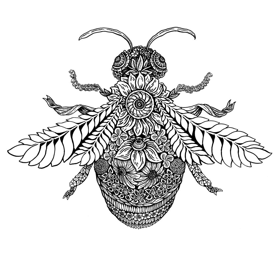 My Brain Drips Ink Botanical Bee