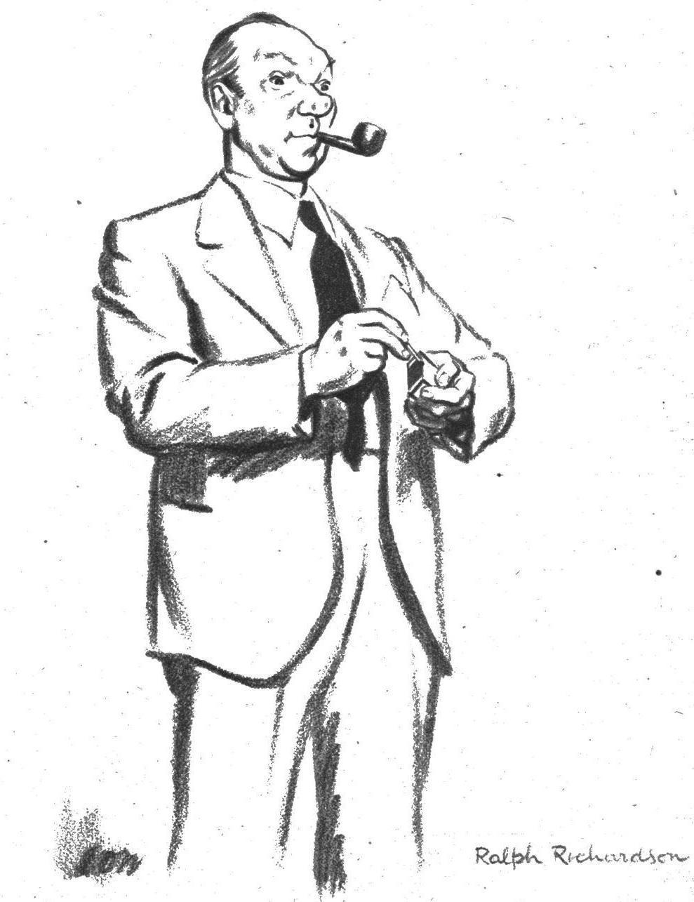 Flammentanz • Ralph Richardson portrayed by cartoonist