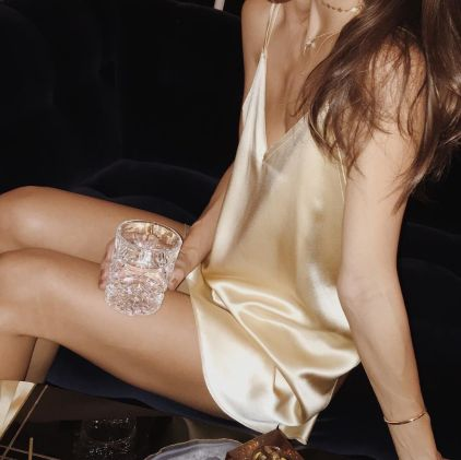 Gold is a sexy color for ways to wear slip dresses!