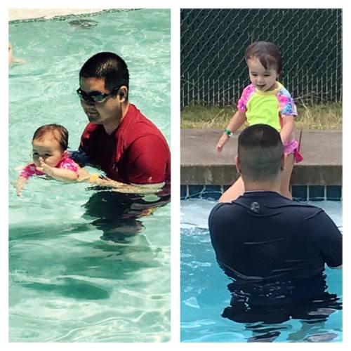 Can't believe how big she's gotten in 1 year! (at Leahi Swim School-Manoa)