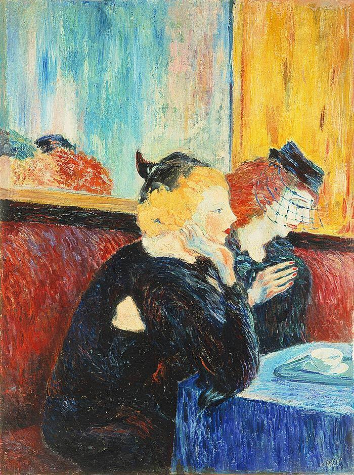"huariqueje: "" Donne al caffè - Aligi Sassu, 1942 Italian, 1912-2000 Oil on canvas , 86 x 101,9 cm. """