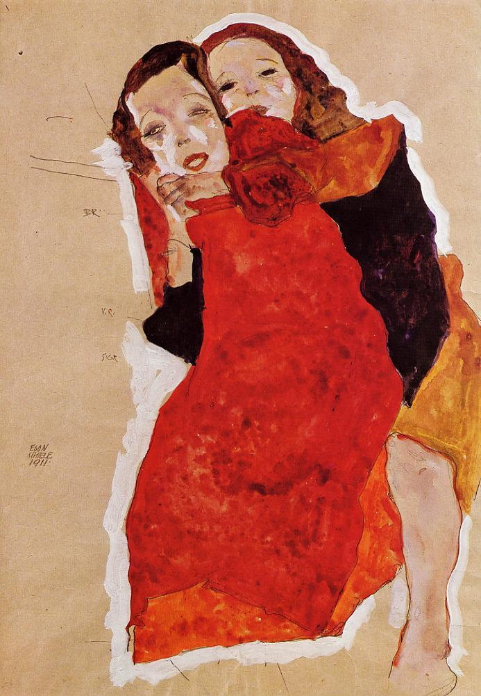 """expressionism-art: """" Two Girls by Egon Schiele Medium: watercolor on paper"""""""