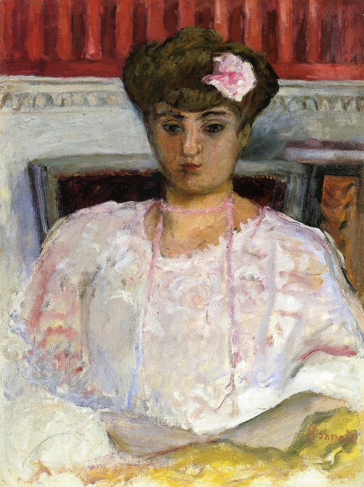 "artist-bonnard: "" Misia with a Pink Corsage by Pierre Bonnard Size: 157.2x117.8 cm Medium: oil on canvas"""