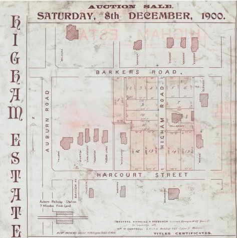 Subdivision land sale along nearby Higham Road in 1900