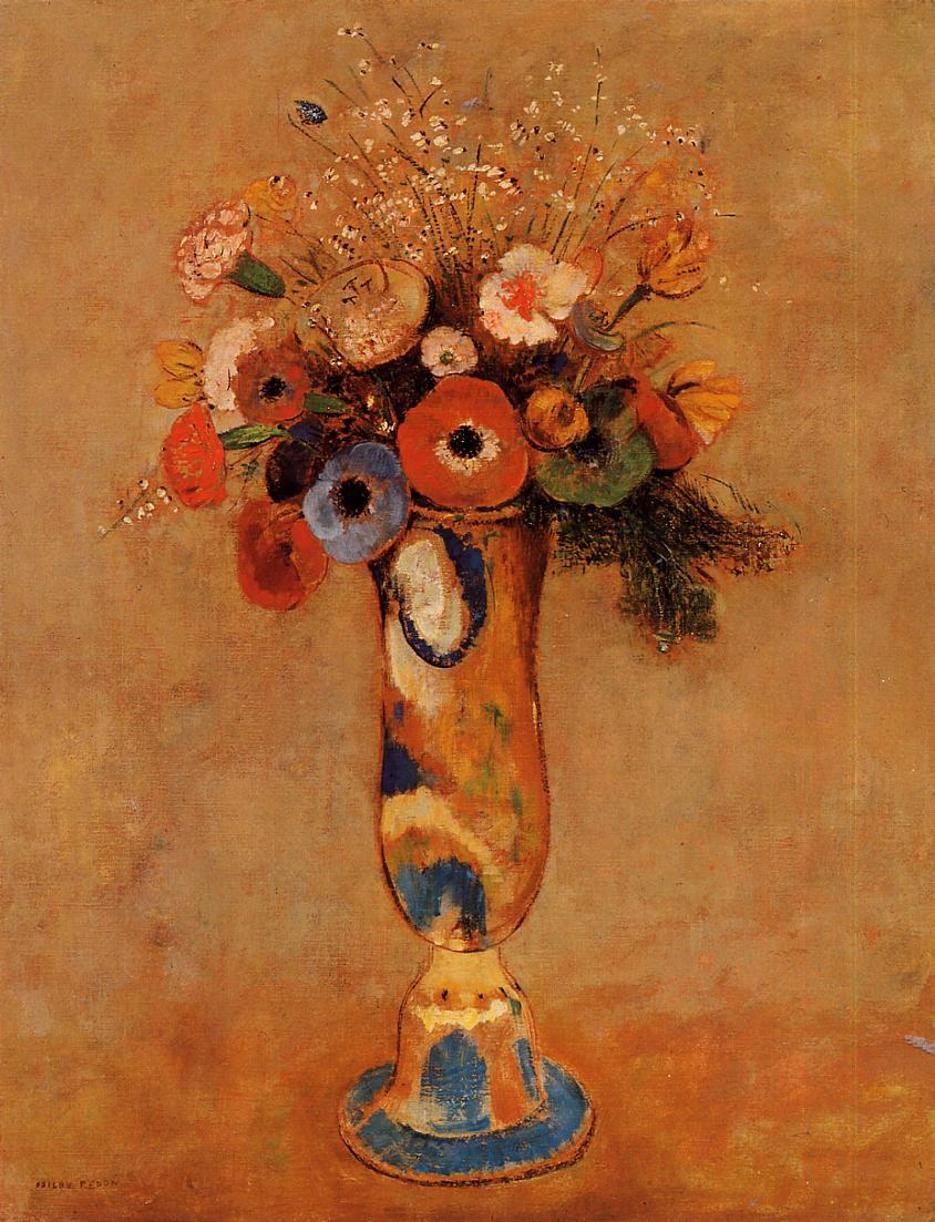 "artist-redon: "" Wildflowers in a Long Necked Vase via Odilon Redon Medium: oil on canvas"""
