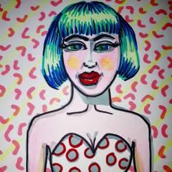 Voodoo lady Delilah #art #doodle #journal #fluro #patterns #inkpen #drawdrawdraw #drawing #80s #90s #illustration_ink #illustration #pencildrawing #perthcreatives #perthartist