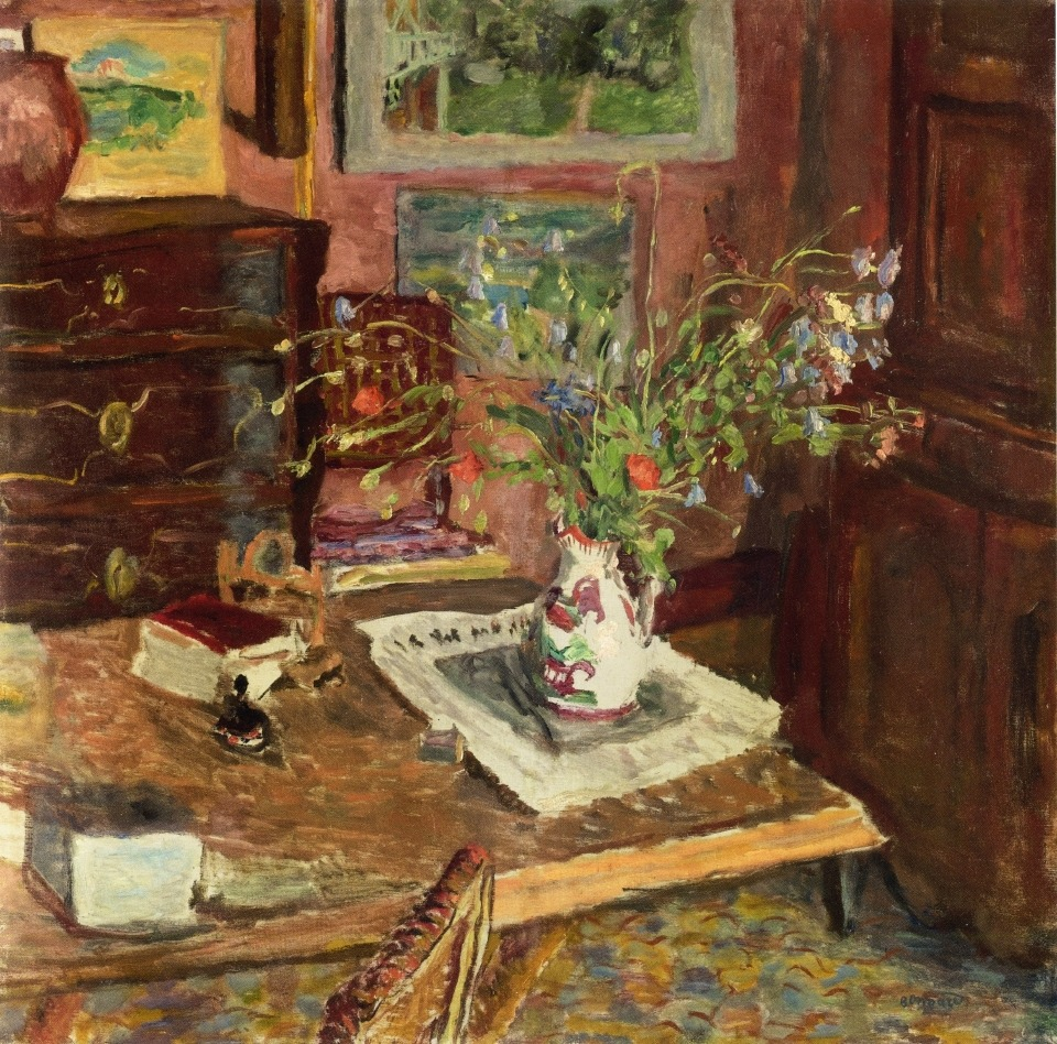 "artist-bonnard: "" Norman Earthenware (also known as A Pot from Rouen) by Pierre Bonnard Size: 224x231 cm Medium: oil on canvas"""