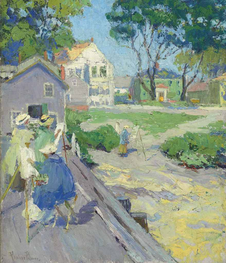 "books0977: "" Sketch Club, Provincetown. Pauline Palmer (American, 1865-1938). Oil on canvas. Palmer and her husband kept a summer home in Provincetown where Palmer quickly made friends with many of the Portuguese fishermen's families and used them as..."