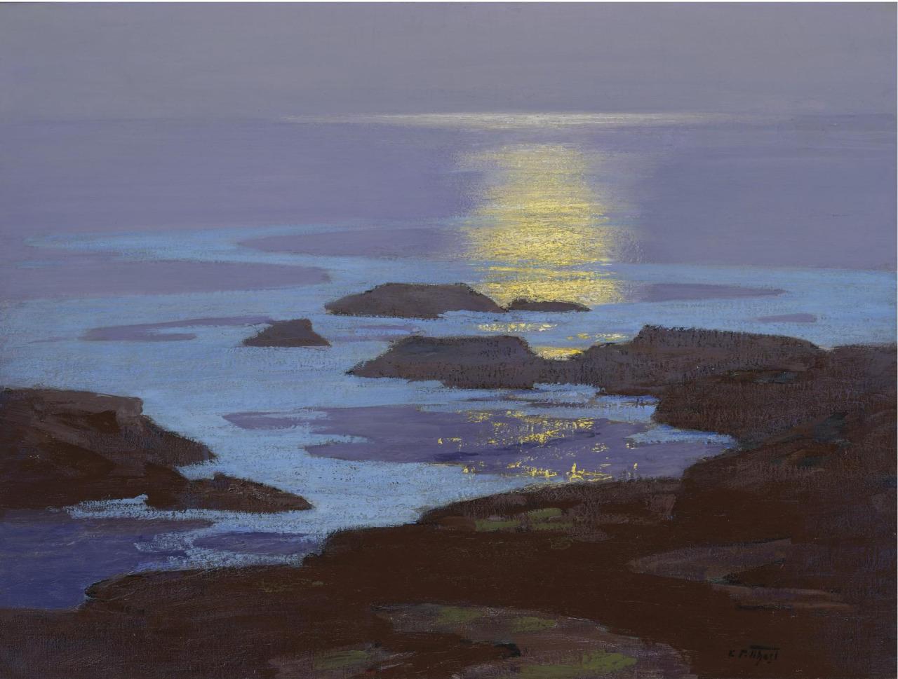 Edward Potthast (USA 1857-1927) Moonlight, the Coast of Maine (1923) oil on canvas 77.5 x 102.9 cm