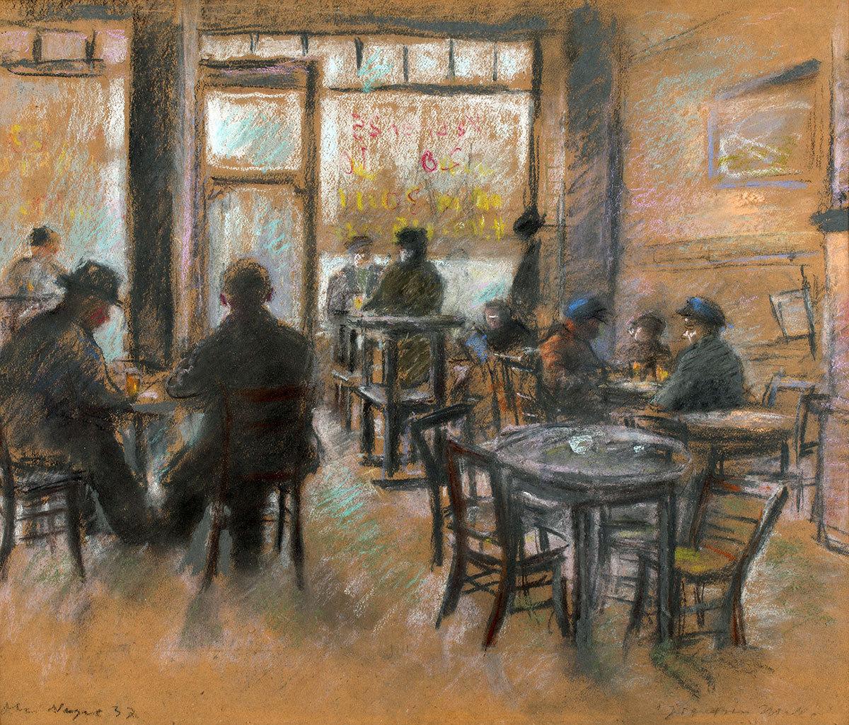 """amare-habeo: """" Otto Nagel (German, 1894 – 1967) Berlin Pub """"Zur großen Molle"""", 1937 Pencils on paper """""""