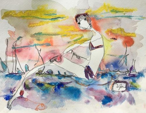 Iphone 6 Lock Screen Wallpaper Girl Watercolor Art On Tumblr