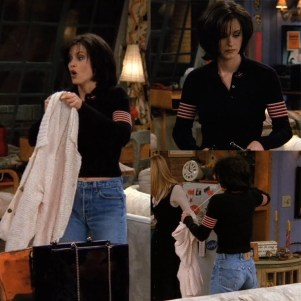 Friends Fashion Inspired by Monica Geller and her Mom Jeans Black Sweater Levis