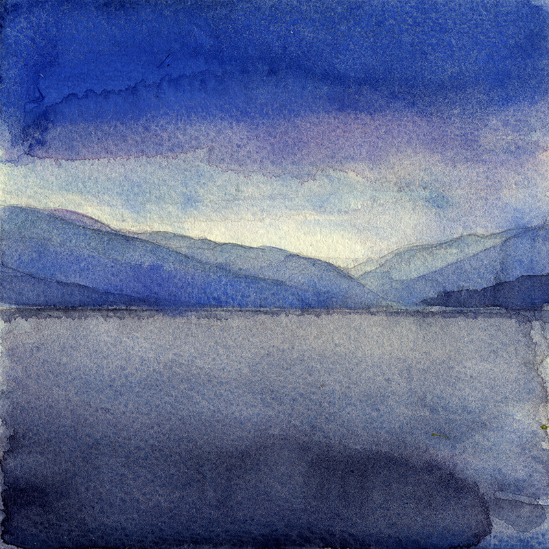 "huariqueje: "" View over the Clyde River to Loch Long - Wil Freeborn Scottish,b. ? Watercolour on paper, 20 x 20 """