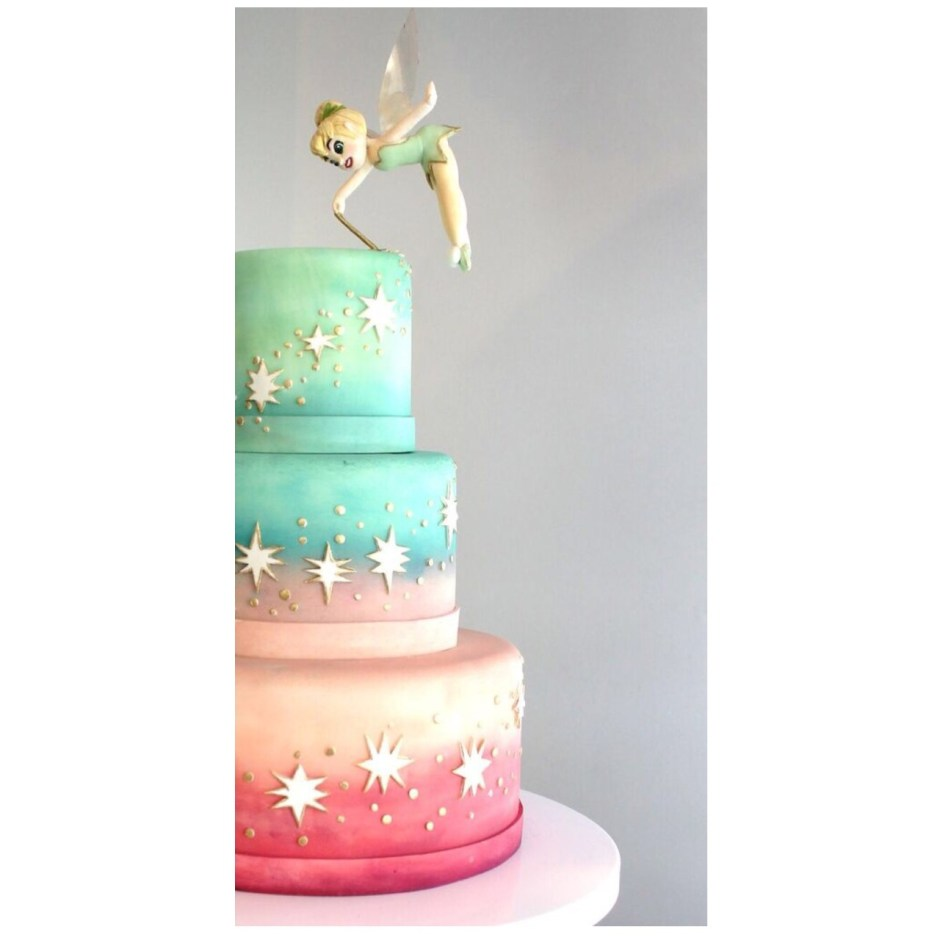 Tinkerbell Cake with Gravity-Defying Flying Tinkerbell Sugar Figure I Mischief Maker Cakes #mischiefmakercakes #bemischievious