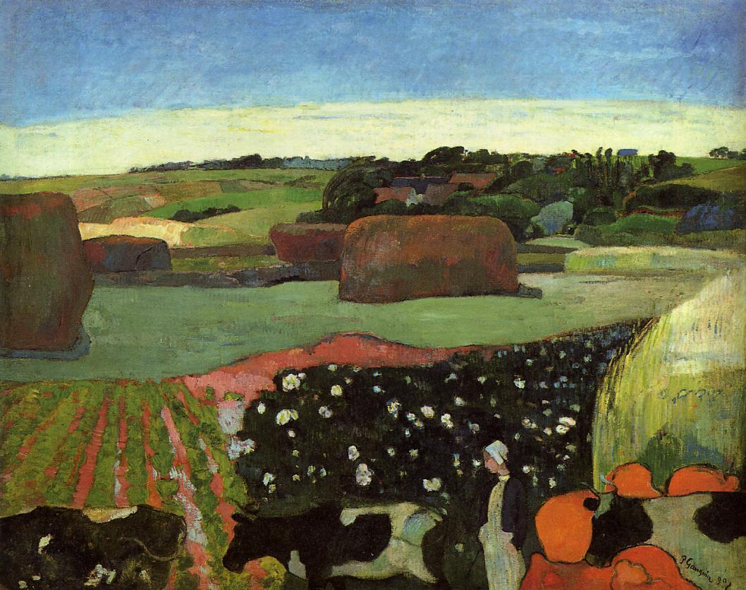 "artist-gauguin: "" Haystacks in Brittany by Paul Gauguin Size: 74.3x93.6 cm Medium: oil on canvas"""