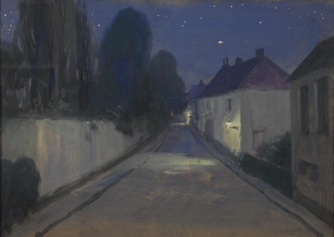 """thunderstruck9:""""Constant Montald (Belgian, 1862-1944), Paysage de nuit [Night Landscape], 1916. Gouache and pastel on papier, 51 x 71 cm."""""""