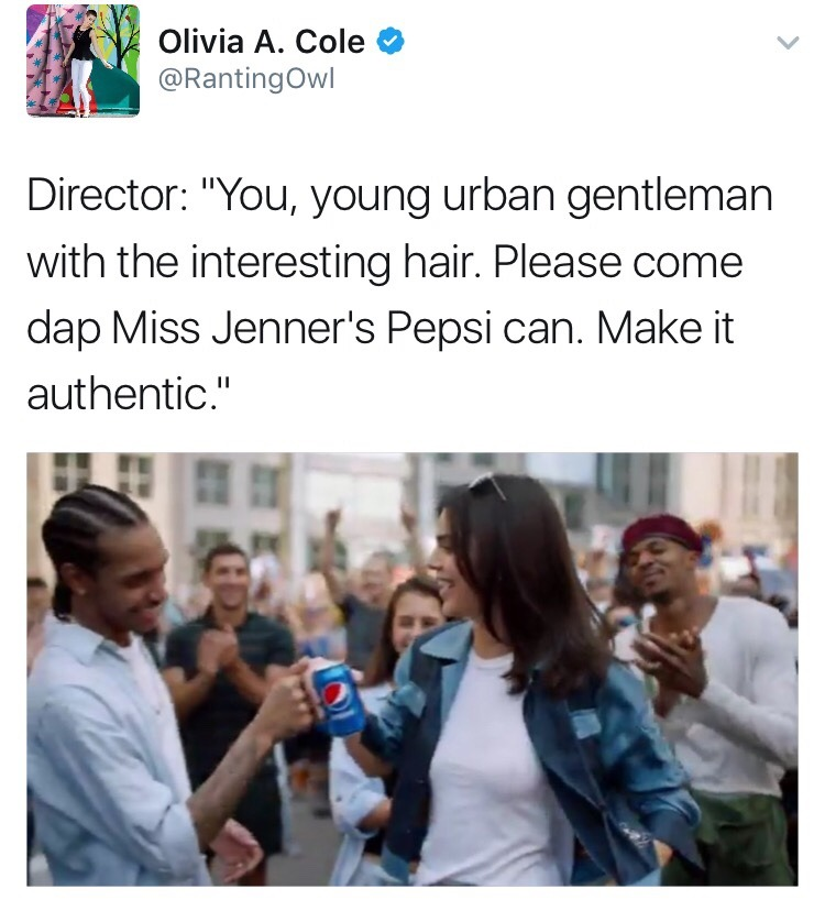 """nabyss: """"loubeesarmy: """" andinthemeantimeconsultabook: """"The Best of Twitter dragging Pepsi™ and Kendall Jenner's ignorant ass for that horrendous new ad they just released. """" How y'all gonna defend her ass? """"She is just doing her job"""" """"She has no..."""