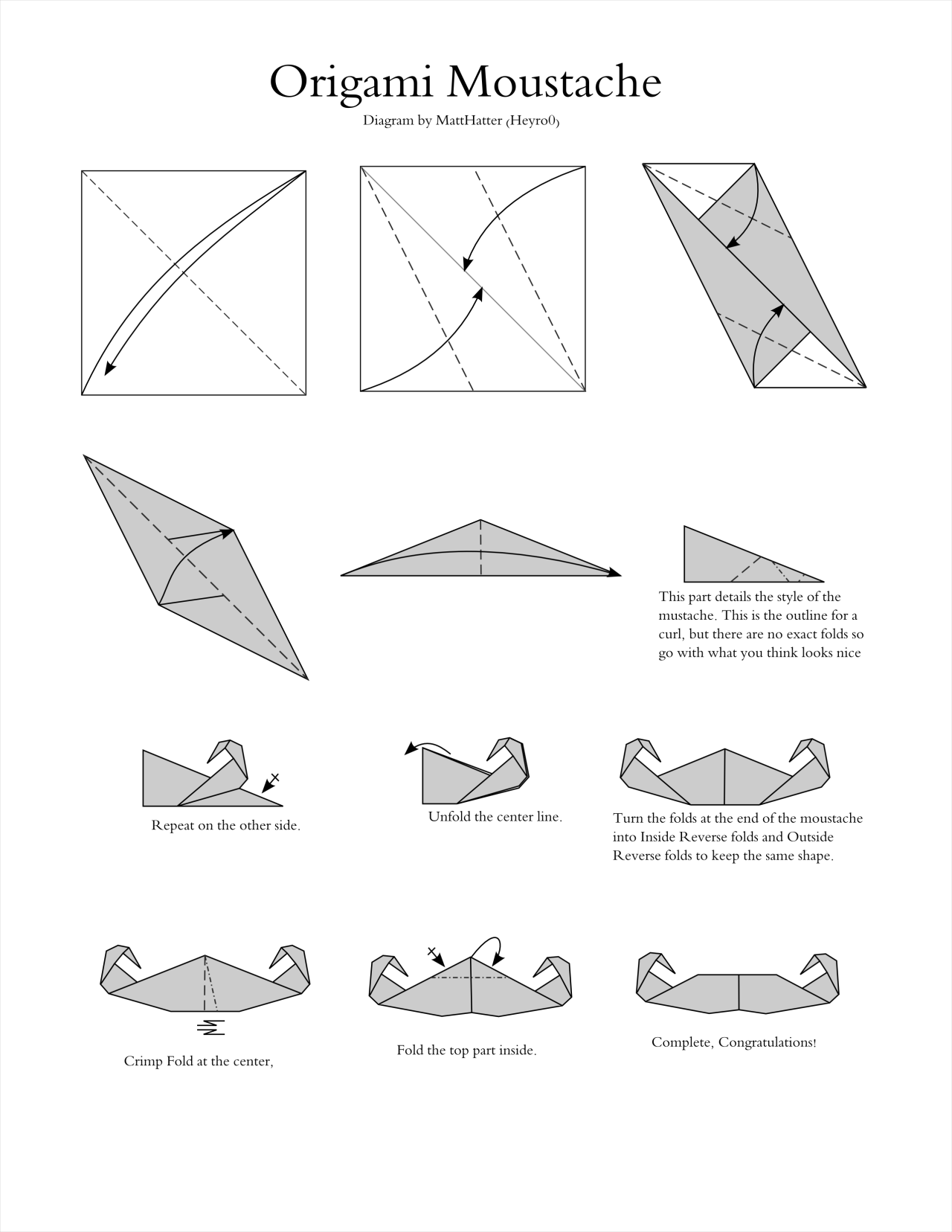 origami hummingbird diagram instructions 2008 ford focus fuse paper works  a for an moustache happy