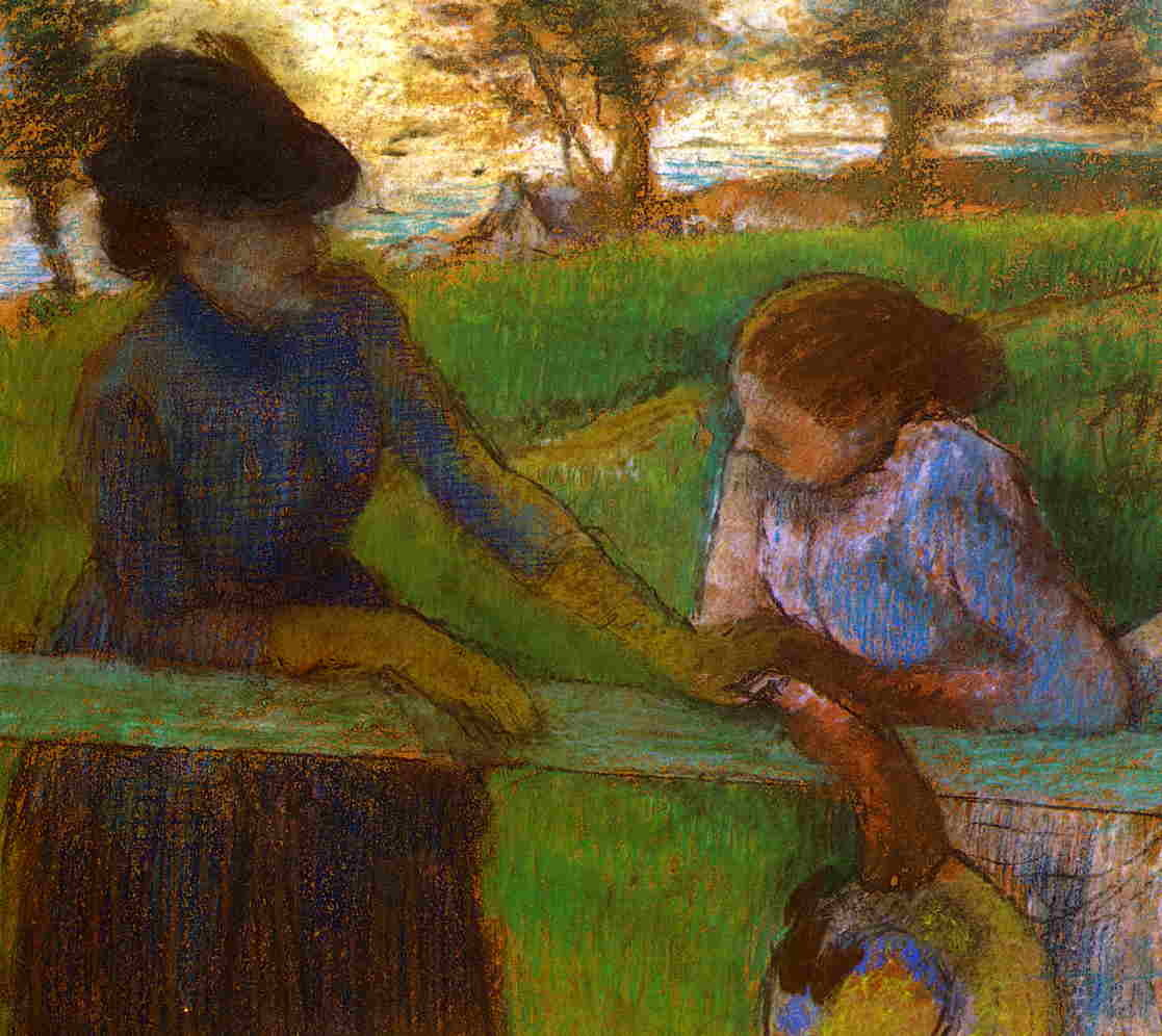 "artist-degas: "" The Conversation by Edgar Degas Size: 54x66 cm Medium: pastel"""