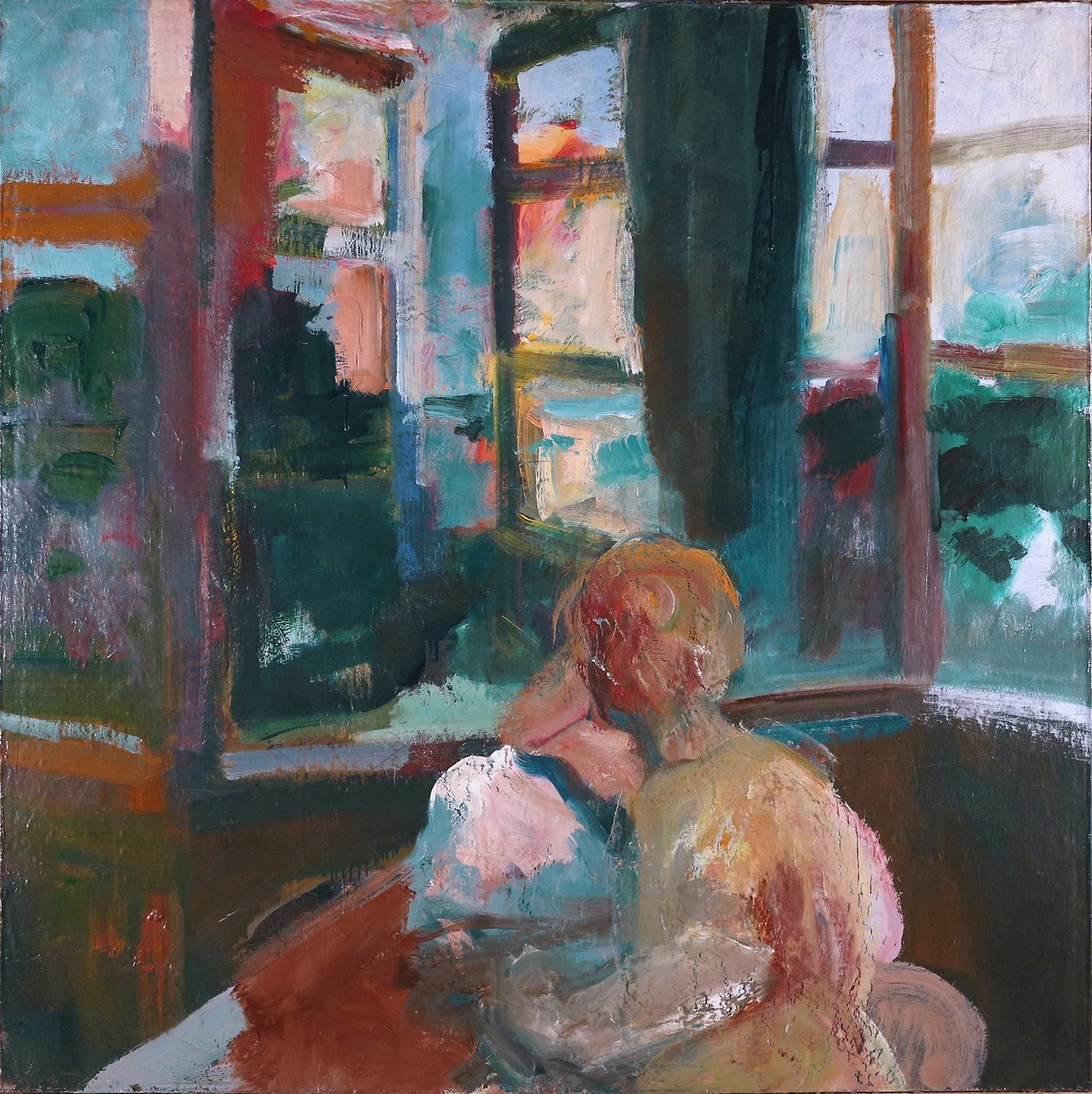"urgetocreate: "" Elmer Bischoff, Woman Reading Near Window, 1959, oil on canvas, 57x57 in, """