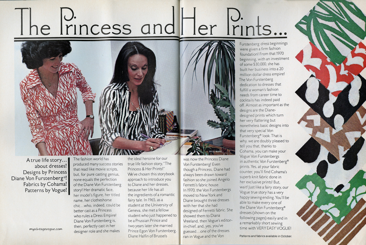 """The Princess and Her Prints..."" Diane von Fürstenberg in Vogue Patterns, fall 1976"