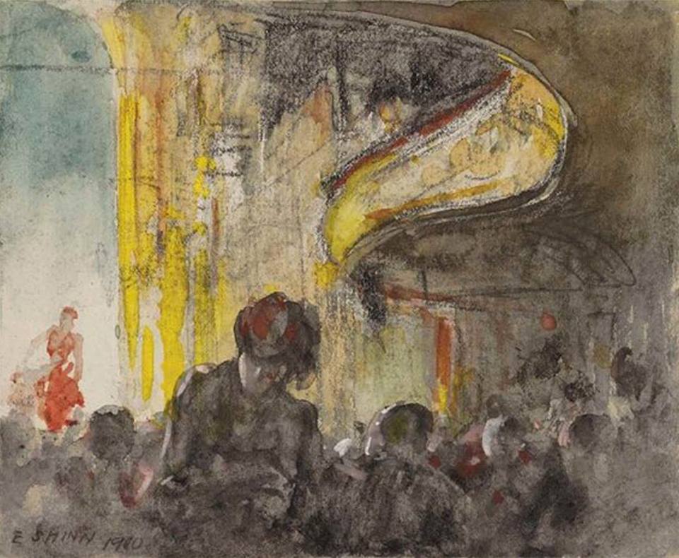 "huariqueje: "" Paris Music Hall - Everett Shinn, 1900 American,1876-1953 watercolor, charcoal and gouache on paper , 10.2 x 12.1 cm. (4 x 4.8 in.) """