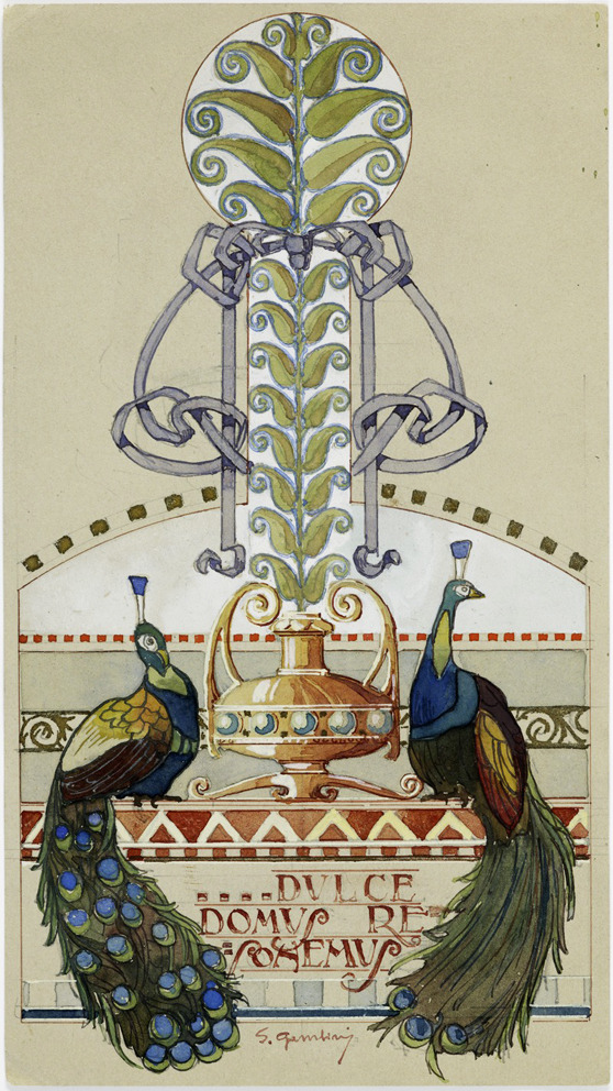 Silvio Gambini, design for wall decoration, 1902-06. Drawing. Italy. Via Wolfsonian.