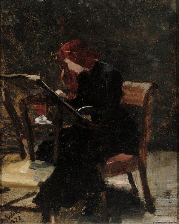 """poboh: """"La pittrice a cavalletto, Raffaele Ragione. Italian (1851 - 1919) """""""