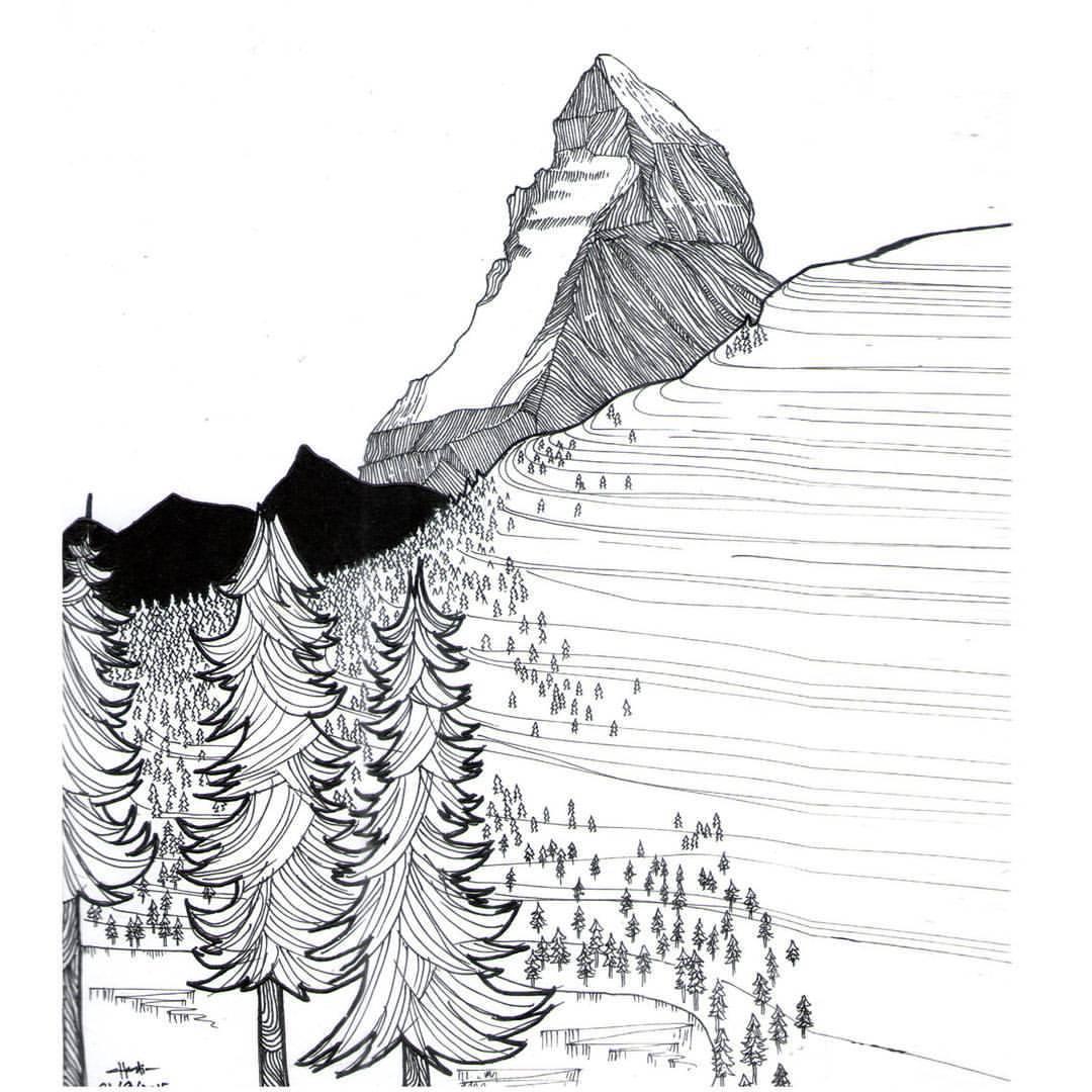 I Climb So I Draw Matterhorn Sketch Use Drawing Pen On