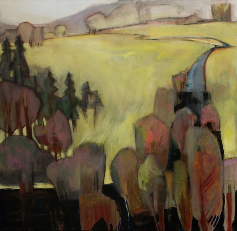 "lilithsplace: ""Twilight Pastures - Peggy McGivern (20th Century) mixed media 
