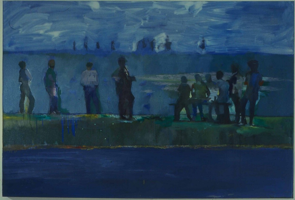 "terminusantequem: ""Hurvin Anderson (British, b. 1965), Ball Watching, 1997. Oil on canvas, 183 x 121 cm """