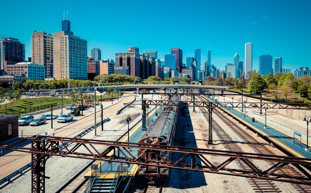 """Trains In Chicago""""A view from Millennium Park to the… – Skylines"""