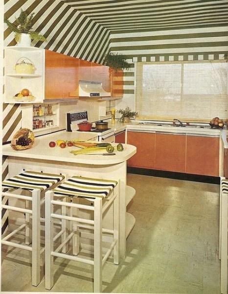 orange and green kitchen decor Super Seventies — 1970s orange and green kitchen design.