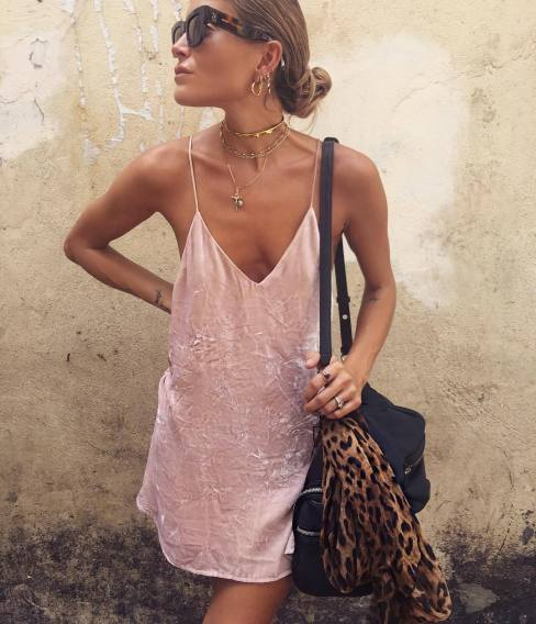 Velvet and suede material are cute ways to wear slip dresses!