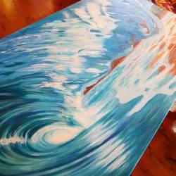 Making progress, and seeing the light at the end of this big long watery tunnel! #art #perthcreatives #perthartist #illustration #artworks #perthstagram #perthisok #waart #waves #oceanart #seascape #oceanscene #wip #oilpainting #surfing #greenroom #painting #gasbombgirl #Commission #westernaustralia #perthartscene