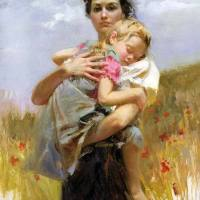 Pino Daeni - Mother and Child