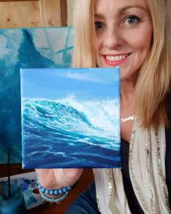 Another miniature wave painting complete! I now have four of these lil guys, one of which will be up for grabs in a fun giveaway very soon!! 💙..... . . . . #art #artshow #perthcreatives #perthartist #illustration #paintings #oceanart #waves #acrylicpainting #interiordesign #surf #beachlife #artsy #perthpop #perthstagram